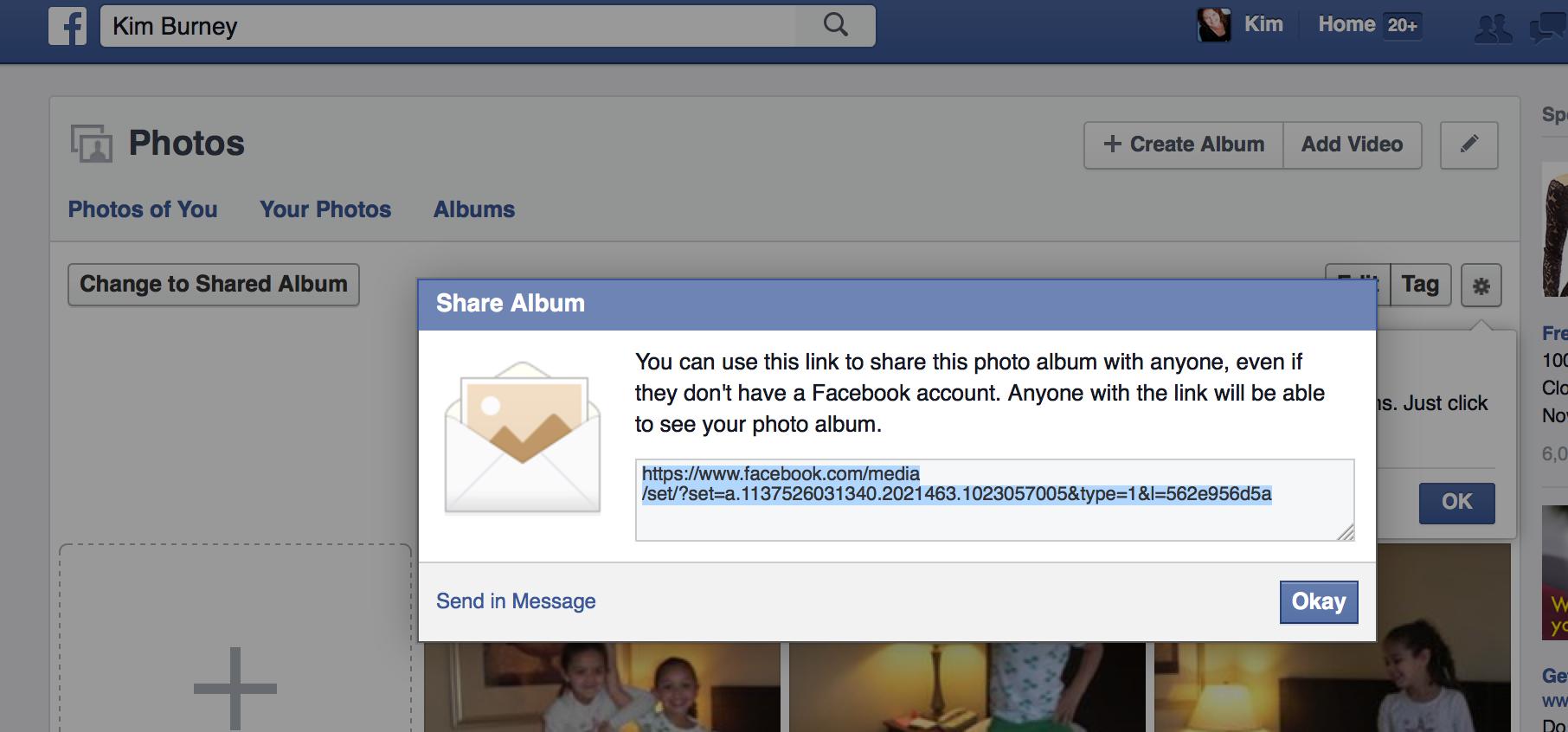 Share FB Album Link